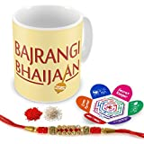 Indigifts Rakhi Gifts For Brother Bajrangi Bhaijaan Quote Printed Gift Set Of Mug 330 Ml, Crystal Rakhi For Brother, Roli, Chawal & Greeting Card - Rakshabandhan Gifts For Brother, Rakhi For Brother With Gifts, Raksha Bandhan Gifts, Brother Coffee Cup
