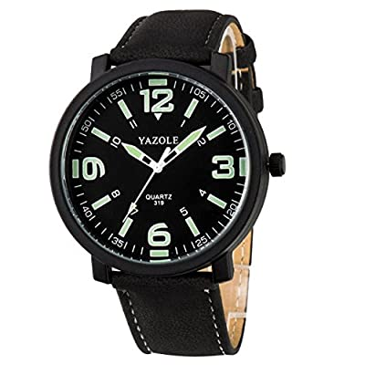 Men 30M Waterproof Night Light hands Simple Style Leather Strap Quartz Wrist Watch-Black