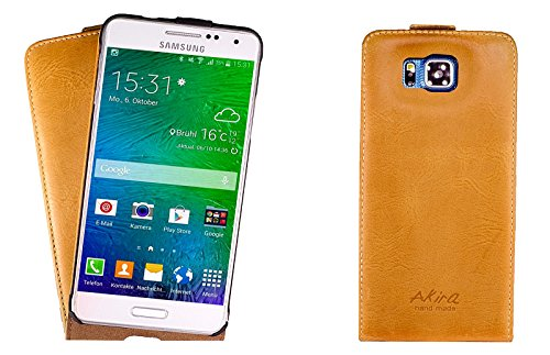Akira Handmade Original Premium qualità Pelle Vera Flip Case per Samsung Galaxy Alpha SM-G850F Rosolare