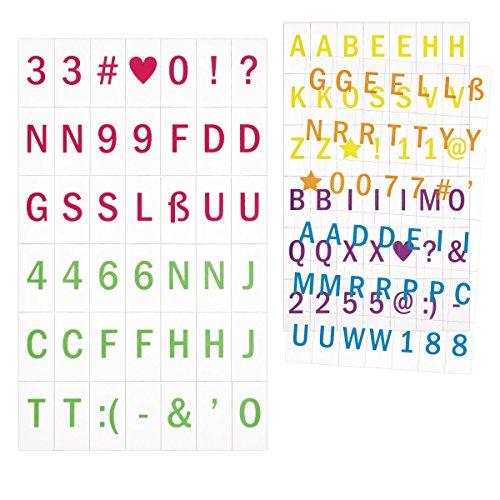 kwmobile Groß-Buchstaben Set A4 Lichtbox - 126 bunte Plättchen Buchstaben Zahlen Symbole Ergänzungsset - LED Lightbox Leuchtkasten Erweiterung