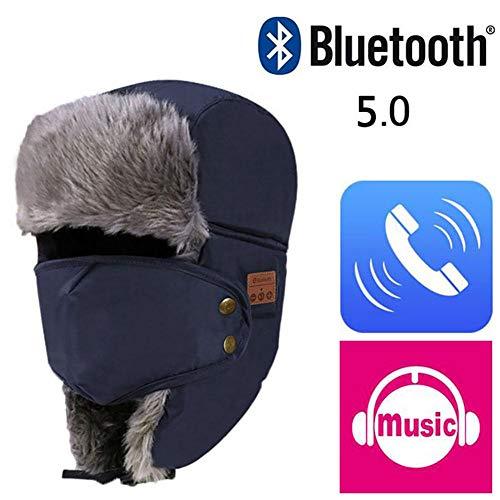 máscara facial desmontable Orejeras 5.0 Gorra de música Bluetooth Gorro de música inalámbrico a prueba de viento y nieve Casco de cabeza inalámbrico Sombreros cálidos a prueba de viento con Bluetooth