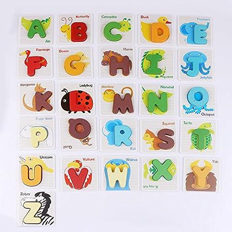 Alphabetpuzzle Alphabet Hölzernes MINGLUN Puzzle Stand Up Buchstaben Spielzeug mit