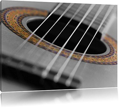 verziertes Schallloch einer Westerngitarre schwarz/weiß Format: 120x80 auf Leinwand, XXL riesige Bilder fertig gerahmt mit Keilrahmen, Kunstdruck auf Wandbild mit Rahmen, günstiger als Gemälde oder Ölbild, kein Poster oder Plakat