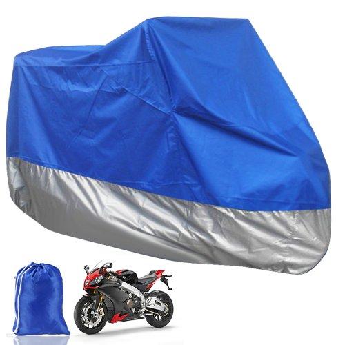 CLE DE TOUS - Funda Protector de Polyester Talla XL 245cm Cubierta con Bolsillo para Moto Motocicleta Color Negro y Azul