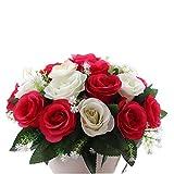 LIUXING Fleurs Artificielles Bouquet de Roses artificielles Fleurs de Soie Fleurs de Mariage for Le Mariage Faux Accueil Table Patio Party Décoration Bureau d'élégance à Votre