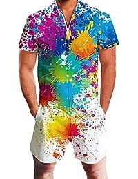 Goodstoworld Mens Romper Suits 3D Graphic Print Zip up Jumpsuit Grandad Shirt Summer Onesies