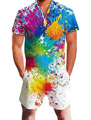 ALISISTER Jumpsuit Herren Sommer 3D Weiß Paint Grafik Kurzen Ärmel Onepiece Jumpsuits Kostüm Männer Zipper Overall Strampler M - Hawaii-blumen-muster-shirt