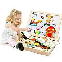 Highdas Wooden çift yan çok fonksiyonlu-desenleri yazılı tahta-çocuklar için manyetik Puzzle-Oyun-oyuncak-Set Imagination
