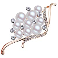 FENGJI Wedding Pearl Gold Plated Crystal Multicolor White Decoration Brooches Pins Gold White