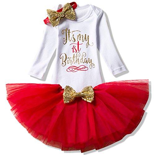 TTYAOVO Neugeborene Mädchen Es ist Mein 1. / 2. Geburtstag 4 Stück Outfits mit Romper+Tutu Kleid + Stirnband+ Leggings 02Rot 0-12 Monate (12 Geburtstags-outfit Monate Mädchen)