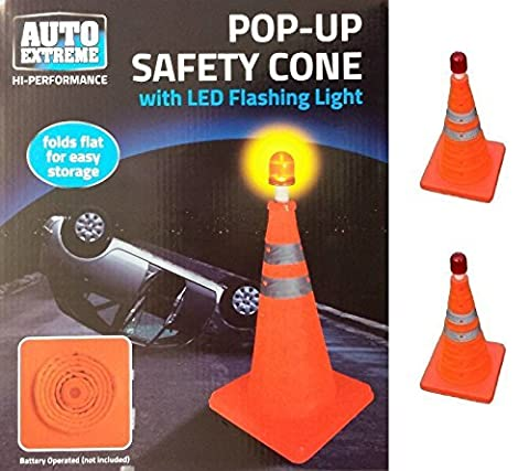 Portable Pull Out Pop Up Cones Traffic Cones With Flashing LED Light Driving Safety Road Cones 18 /40cm (2) by Wilsons Direct
