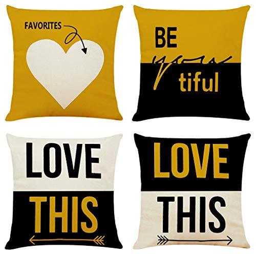 HOUMEL Conjunto De 4 Amor Frase Fundas, Banda Funda de cojín de algodón de Lino Almohada la decoración del hogar, 45x45cm 009 (Color : Product1, Size : 45X45Cm)