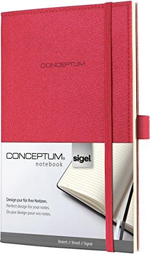 Sigel CO583 Notizbuch, Design Filz, ca. A5, liniert, Softcover, rot, CONCEPTUM - viele Modelle