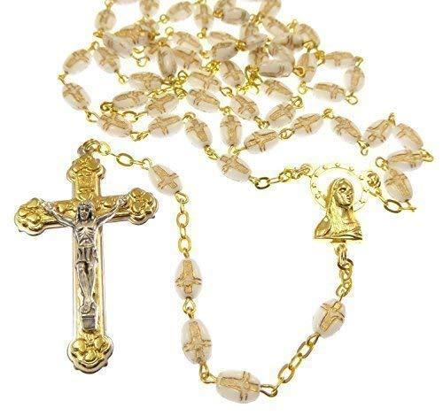 Schöne weiße gold Ton Rosenkranz Glasperlen mit Kruzifix-Impressum