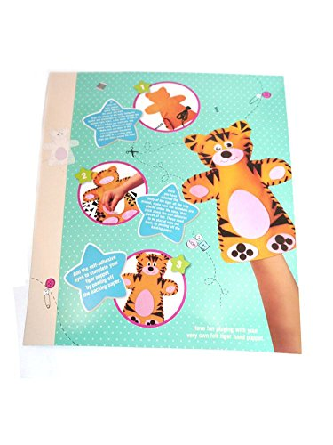 Stick Sew & Create Your Own Felt Tiger Hand Puppet Set Toy Craft Sewing Kit Gift