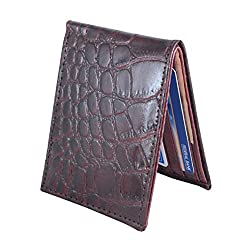 Holboro Mens Crocodile Embossed Genuine High Quality Mens Leather Wallet With Free 7 Pcs Disposable Razors