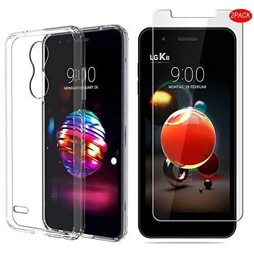 LG K9 Hülle mit Displayschutzfolie,MYLBOO[3 in 1] Transparent Weich TPU Handytasche + [2 Pack] 9H gehärtetes Glas Displayschutzfolie [HD Ultra] [Anti-Scratch] Für LG K9