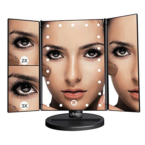 Panel Beleuchtete Make-up-spiegel (Kosmetik Faltbarer Spiegel Beleuchteter , 3 Panel Make up spiegel mit 21 LED, Licht Spiegel Touch-Sensitive, Normaler Spiegel + 2x Zoom Spiegel, + 3x Zoom Spiegel, wiederaufladbar mit USB-Kabel, Neigbar um 180°. Unodeco U013)
