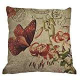 Nunubee Startseite Dekorative Schmetterling Blume Sofa Kissenbezug Dekokissen Bezug Kopfkissenhülle