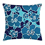 Blue Floral Throw Pillow Cushion Cover, Tropical Hibiscus Silhouettes Blooming Hawaiian Nature, Decorative Square Accent Pillow Case, 18 X 18 inches, Pale Blue Navy Blue Petrol Blue