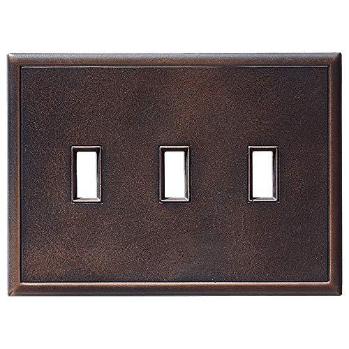 Metall-Kippschalterplatten und Wandplattenabdeckungen, magnetisch, 3 Stück, keine sichtbaren Schrauben Triple Toggle Light Switch Cover Oil Rubbed Bronze (Light Switch Wall Plate)