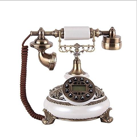 25 * 22 * 26cm creativo resina telefoni antichi, retrò Pearl marmo bianco telefono rete fissa per uso domestico ornamenti decorativi