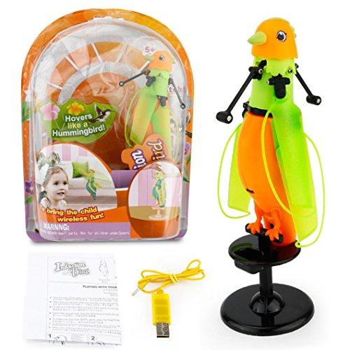 Induktion von Flight Papagei, mamum LED Bellen Induktion Birdie Hubschrauber Induktion Bird Sound Flying Spielzeug Geschenk Einheitsgröße Orange