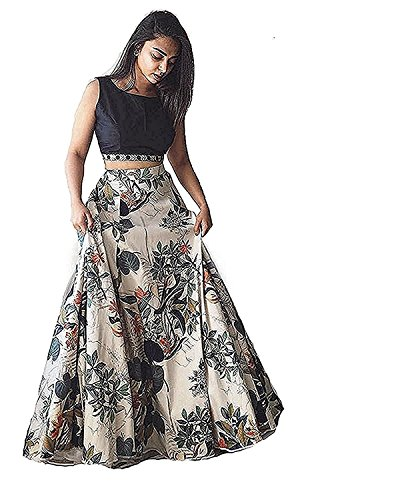 Georgette Printed White Semi Stitched Bollywood Designer Lehenga -D NO 501 Dress,Gown