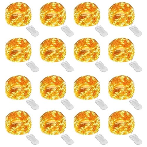 Stern 16 (Onforu 16er Pack 3m 30er LED Lichterkette | Batteriebetriebene Micro Kupferdraht Sterne Lichterketten Warmweiß | IP67 Wasserfest | Geeignet für DIY-Unterhaltung, Hochzeit, Weihnachten, Party Deko etc.)