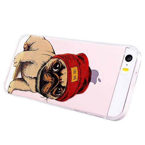 GrandEver iPhone SE 5S 5 Weiche Silikon Hülle Gel TPU Bumper Transparent Schutzhülle mit Muster Rückschale Klar Handytasche Anti-Kratzer Stoßdämpfung Ultra Slim Rückseite Silicon Backcover für iPhone  Hündchen