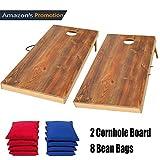 OOFIT Cornhole Board Set aus Massivholz, wurfspiel, 2 Cornhole Board und 8 Cornhole Bags, Kinder Spielzeug für drinnen und Outdoor, mit 8 Bean Bags, 60CM*90CM