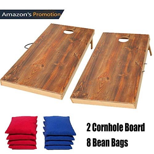 (OOFIT Cornhole Board Set aus Massivholz, wurfspiel, 2 Cornhole Board und 8 Cornhole Bags, Kinder Spielzeug für drinnen und Outdoor, mit 8 Bean Bags, 60CM*90CM)