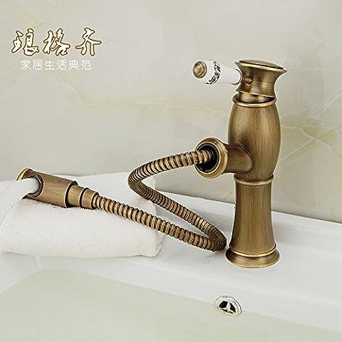 Qwer Wasserhahn antiken Ziehen kann Basin Bank Waschbecken Wasserhahn Cu alle Waschbecken, Dusche mit heißem und kaltem Wasser 066, Mixer Package für Badezimmer