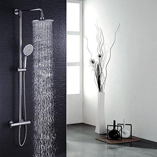 Hausbath Duschsystem Duschset Regendusche Duschsäule mit Thermostat +Rainshower +Duscharmatur+ Handbrause Duschkopf Höhenverstellbar Badezimmer (Ohne Wasserhahn)