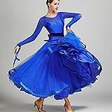 Perspektive Mesh Spleißen Damen Modernes Tanzkleid Performance Milchseide Tüll Großer Schaukel Standard Tanz Kleider mit Bogengürtel, Blue, S