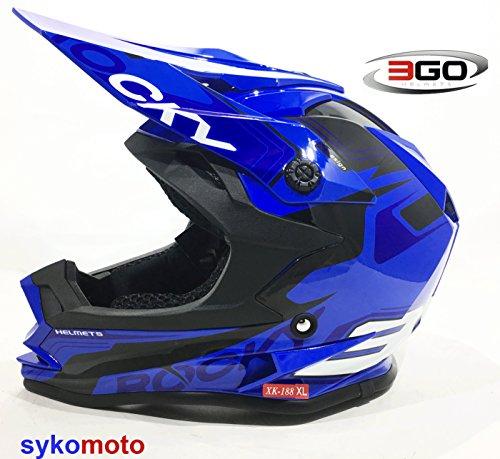 3GO XK188 ROCKY CUB KINDER MOTOCROSS QUAD ATV DIRT MOTORRAD ENDURO HELM BLAU (XL (53 - 54 CM)) (Helm Motorrad Atv)