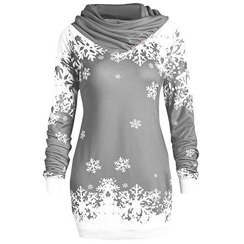 OSYARD Weihnachts Pullover Kleid Slim Fit Christmas Sweatshirt Damen, Mode Frauen Langarmshirt Frohe Weihnachten Snowflake Printing Tops Cowl Neck Strickpullover Lang Bluse Shirt (XL, Grau)