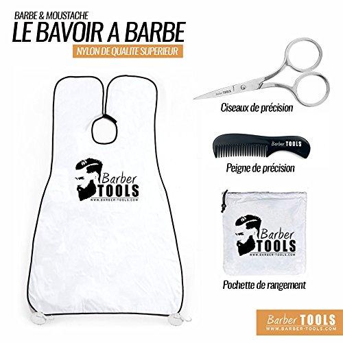 ✮ BARBER TOOLS ✮ Bart Schürze | Bib | Bartlatz für Rasur | Bart Lätzchen mit einem Kamm und einer Präzision Schere und Aufbewahrungstasche mit Reißverschluss. (Schutz Bib)
