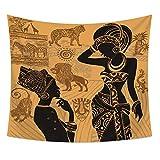 Indi Gene afrikaner pared Alfombra étnico exóticos Tribu África símbolos pared de tapiz tradicional Folk Cultura pared colgantes india Mandala estilo bohemio pared techo decorativa pared toalla 59*51in Pattern2