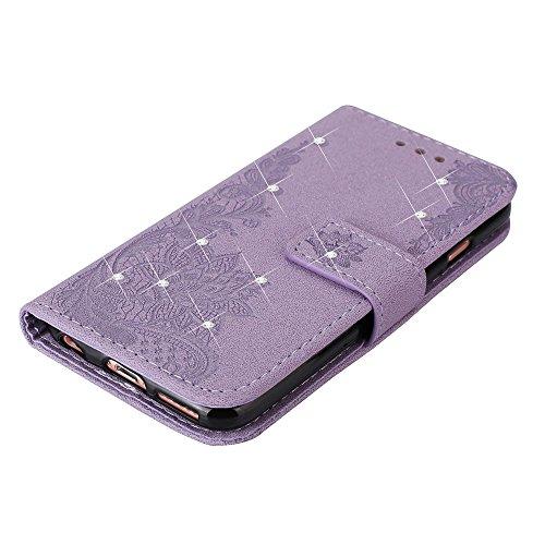 EKINHUI Case Cover Retro PU-lederner schützender Fall Emobssed Phenix Blumen-Kasten mit glänzendem Harz Rehinestone u. Lanyard u. Kickstand u. Karten-Schlitze für iPhone 6 u. 6s ( Color : Black ) Purple