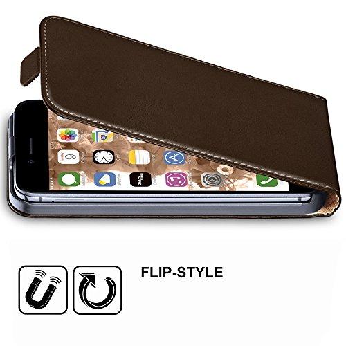 iPhone 7/8 Hülle Weiß [OneFlow 360° Klapp-Hülle] Etui thin Handytasche Dünn Handyhülle für iPhone 7/8 Case Flip Cover Schutzhülle Kunst-Leder Tasche OXIDE-BROWN