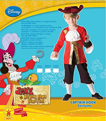 Imagen de rubie's  disfraz capitán hook de peter pan para niños, 116 cm 85083  alternativa