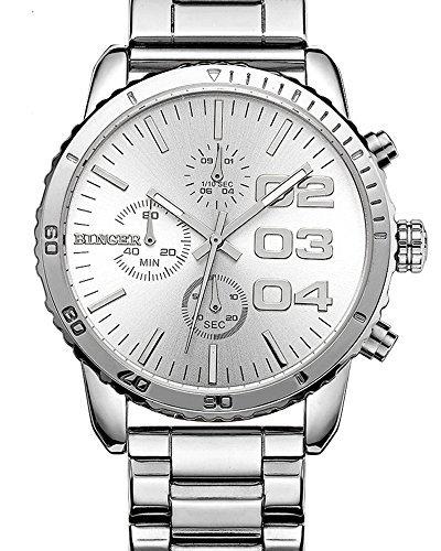 Herren Quartz White Dial Chronograph anzeigen Edelstahl Wasserdicht Armbanduhr (wei)