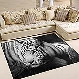 naanle Animal tigre zona alfombra, misterioso tigre en blanco y negro poliéster área alfombra para el salón comedor dormitorio habitación dormitorio hogar decorativo