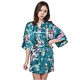 BOYANN Raso Pavone Vestaglie e Kimono Pigiami e Camicie da Notte Allattamento Donna Accappatoi, Verde Scuro S