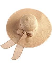 Tinksky Amplia Larege borde gorras verano disco Beach paja Bowknot casquillos de los sombreros para mujeres, regalos para las madres o regalo para las niñas de la mujer (caqui)