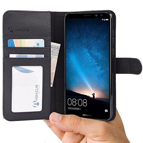 Abacus Mate 10 Lite Hülle, Tasche für Huawei Mate 10 Lite Brieftasche Ledertasche mit Ständer. Fächern für Karten Bargeld, Klapphülle Mate 10 Lite Schutzhülle - Schwarz