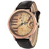 Leisial. Reloj de Moda para Hombre - Reloj Cuero de Pulsera Estilo de Retro Patrón de Símbolo Musical Teclado de Piano Negocios Relojes para Hombres
