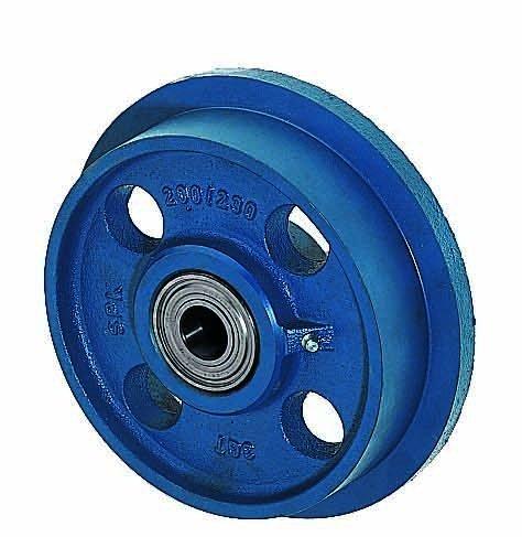 Spurkranzräder aus Grauguss, Rollen ø 150mm SPK/150 beidseitig kugelgelagert, blau lackiert, Flange wheels