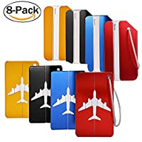Luggage Tags,Fascigirl 8 Pack Metal Durable Fashional Travel Holiday Luggage Baggage Handbag Tag in Bright Colours Suitcase ID Labels Travel Accessories
